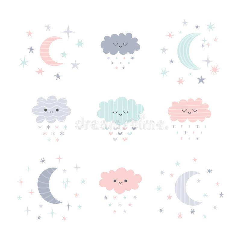 Nuages et lune de sourire tirés par la main mignons avec des étoiles Thème drôle de temps illustration de vecteur
