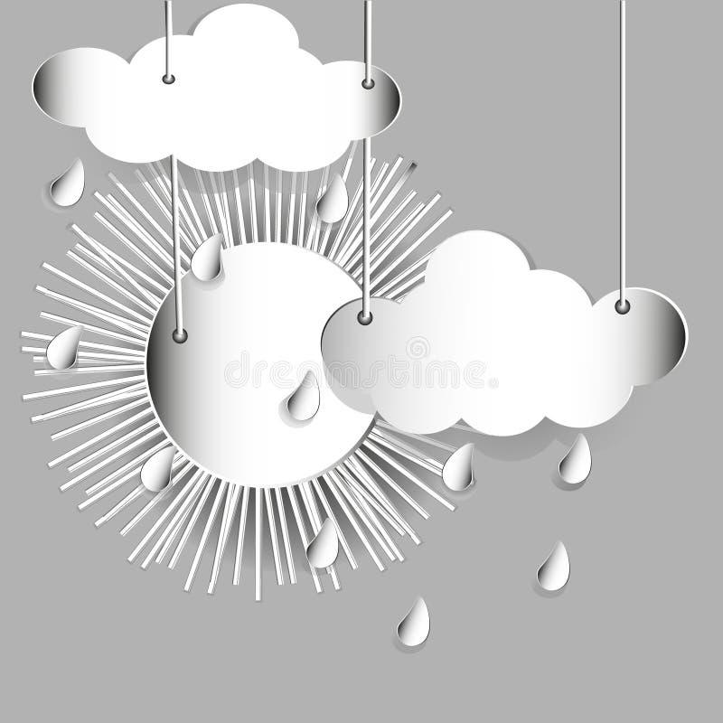 Nuages et pluie de Sun illustration libre de droits