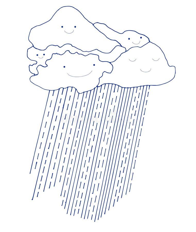 Nuages et pluie drôles de bande dessinée, avec les visages de sourire illustration libre de droits