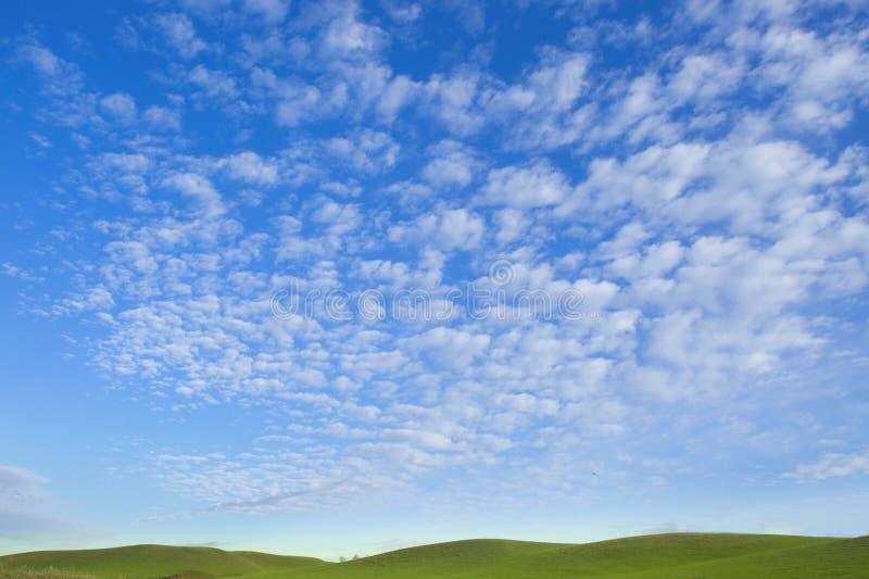 Nuages pelucheux blancs dans le ciel bleu et les collines vertes image libre de droits