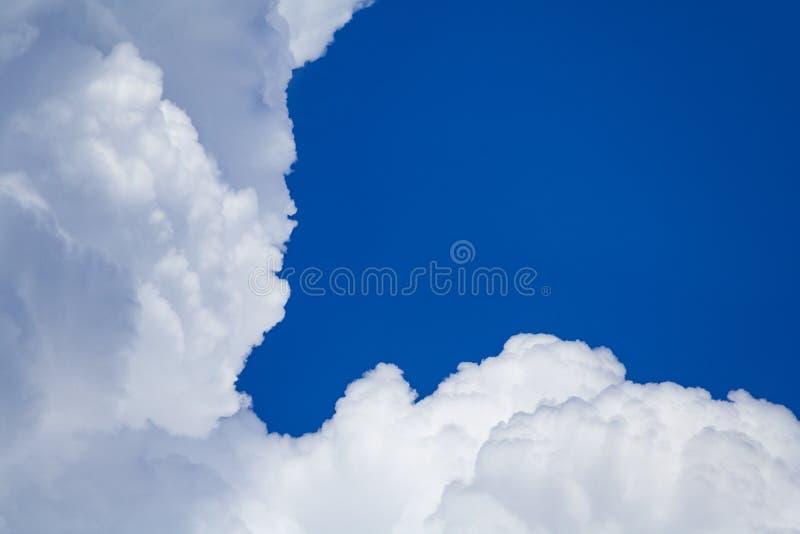 Nuages pelucheux de cumulus blanc sur un fond de ciel bleu avec l'espace de copie photographie stock libre de droits