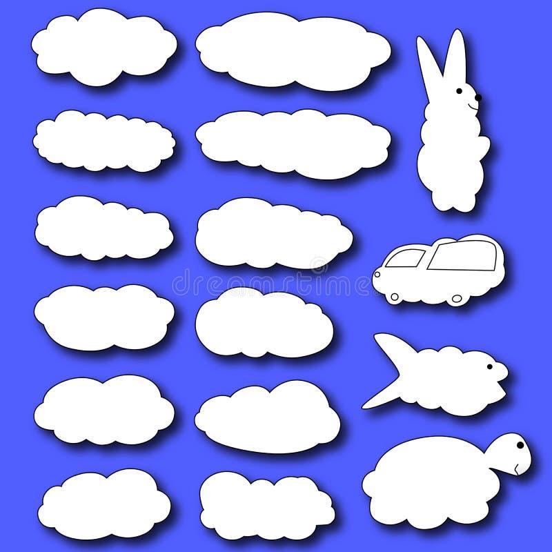 nuages réglés Nuages sous forme d'animaux illustration de vecteur