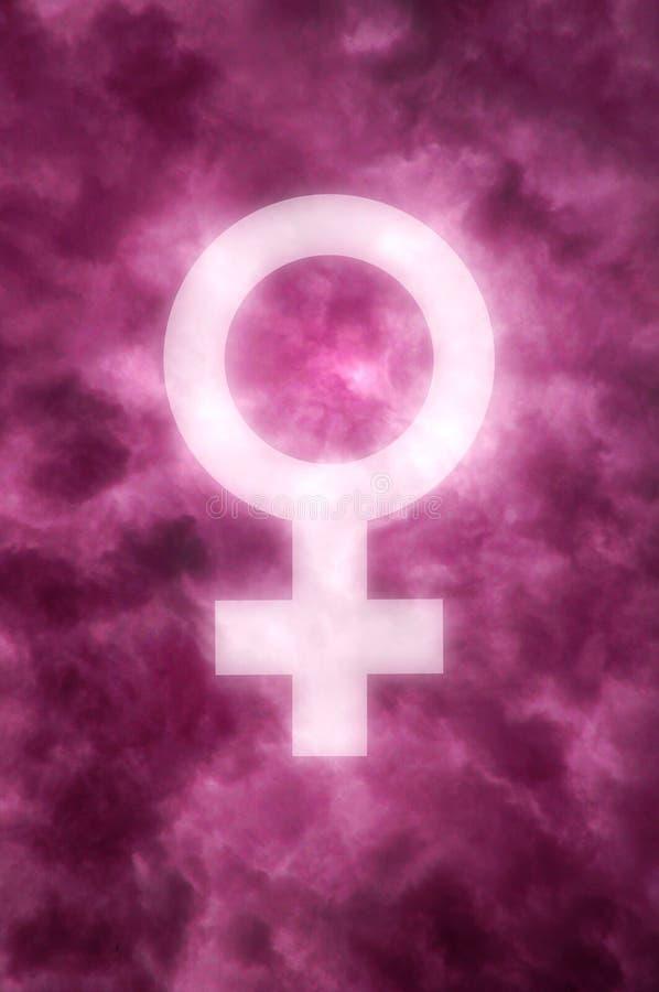 Nuages roses foncés avec un symbole femelle rougeoyant images stock