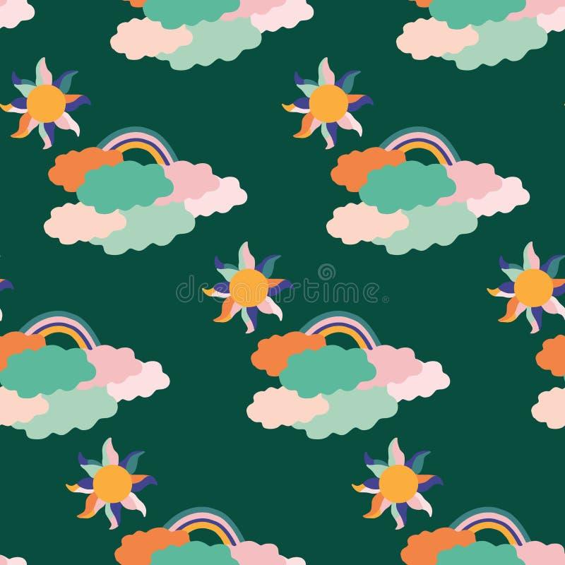 Nuages routiniers colorés, le soleil et arc-en-ciel, dans une conception sans couture de modèle illustration libre de droits