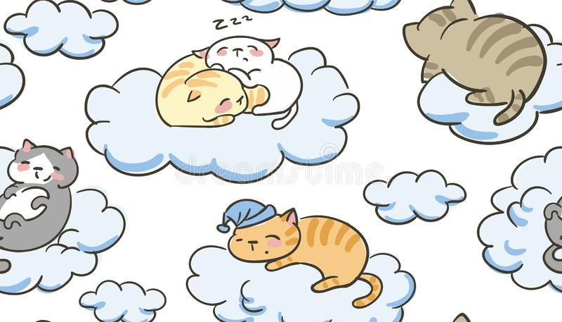 Nuages sans couture de sommeil de mod?le de petit vecteur mignon de chat de griffonnage illustration stock