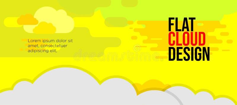Nuageux jaune de bannière de couleur moderne d'amusement illustration de vecteur