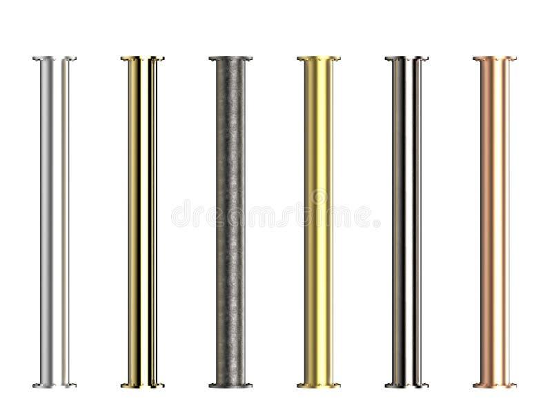 Nuances des tuyaux en métal avec des joints photographie stock libre de droits