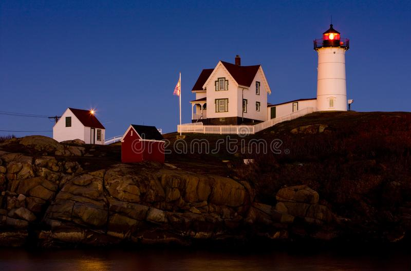 Nubble Lighthouse, Cape Neddick, Maine, USA. Outdoor, outdoors, outside, exterior, exteriors, america, north, united, states, new, england, architecture stock images