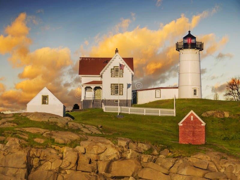 Nubble lighthouse stock image