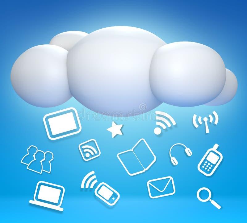 nube 3D y concepto que comunican libre illustration
