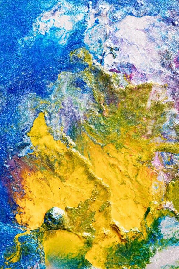 Nube abstracta del iA de Handpainting del amarillo en azul stock de ilustración