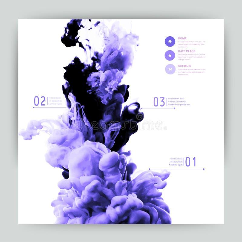 Nube abstracta del vector Entinte remolinar en el agua, nube de la tinta en wa stock de ilustración