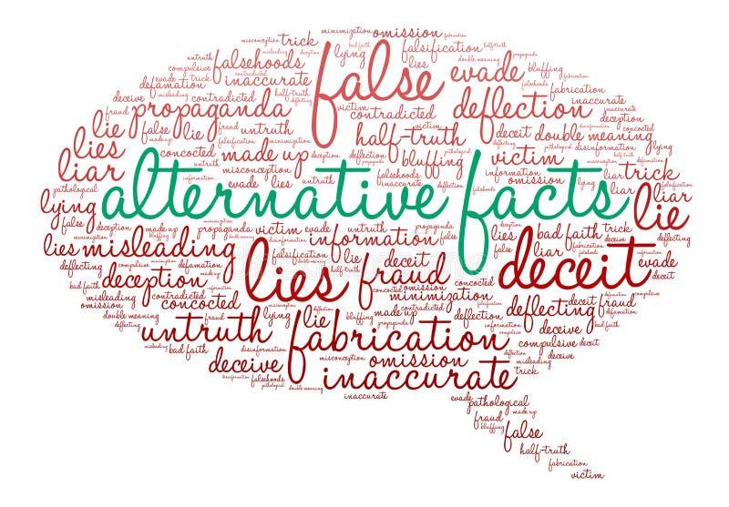 Nube alternativa de la palabra de los hechos stock de ilustración
