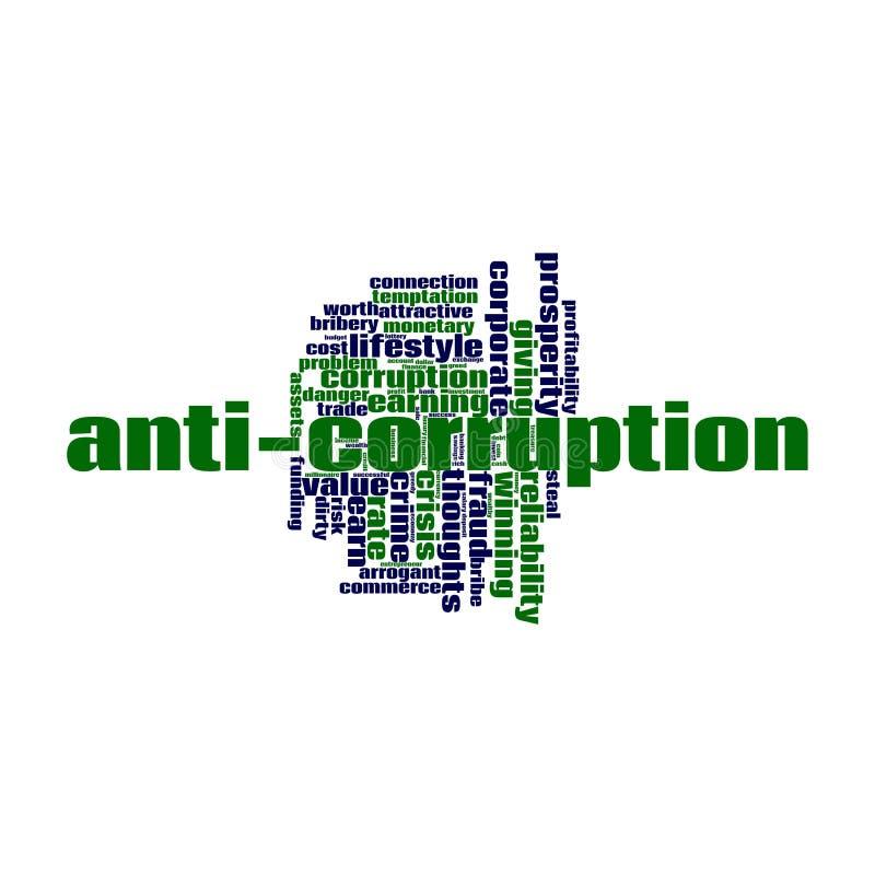 Nube anticorrupción de la palabra ilustración del vector
