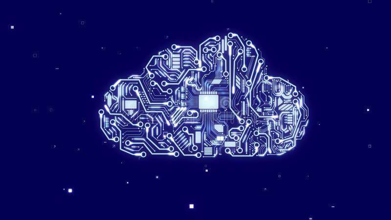 Nube artificial con los microchipes de la CPU ilustración del vector