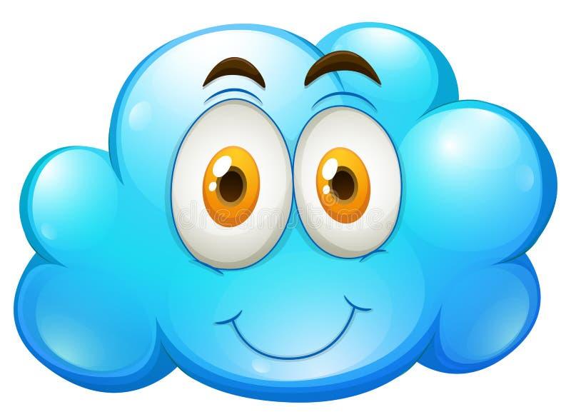 Nube azul con la cara feliz ilustración del vector