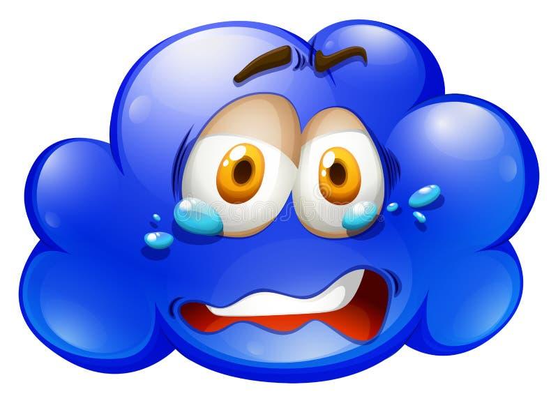 Nube azul con la cara triste stock de ilustración