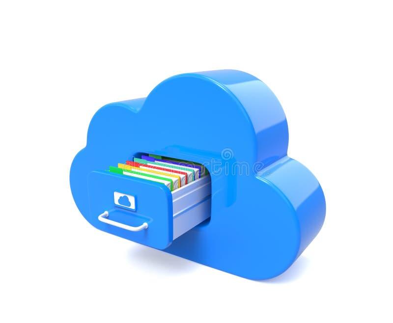 Nube azul para los ficheros ilustración del vector
