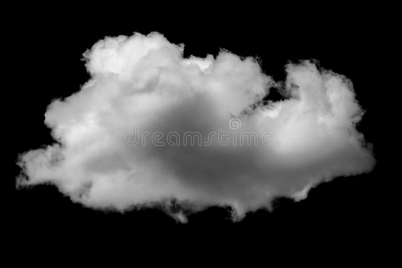 Nube blanca aislada en una nube realista del fondo negro imagen de archivo