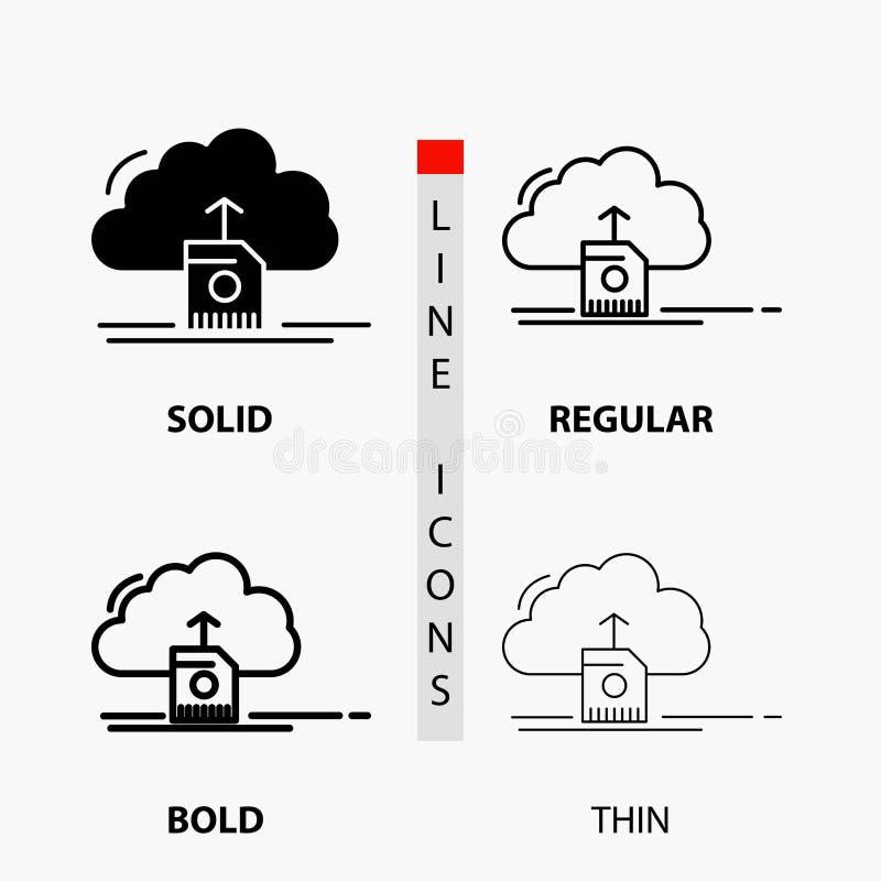 nube, carga por teletratamiento, reserva, datos, icono computacional en línea y estilo finos, regulares, intrépidos del Glyph Ilu ilustración del vector