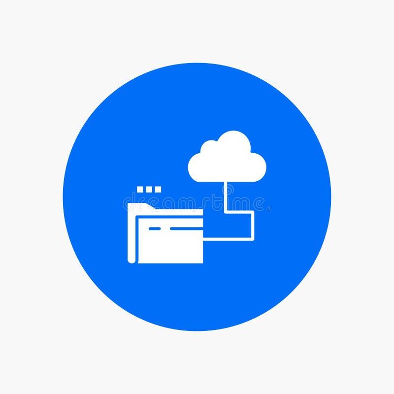 Nube, carpeta, almacenamiento, icono blanco del glyph del fichero ilustración del vector