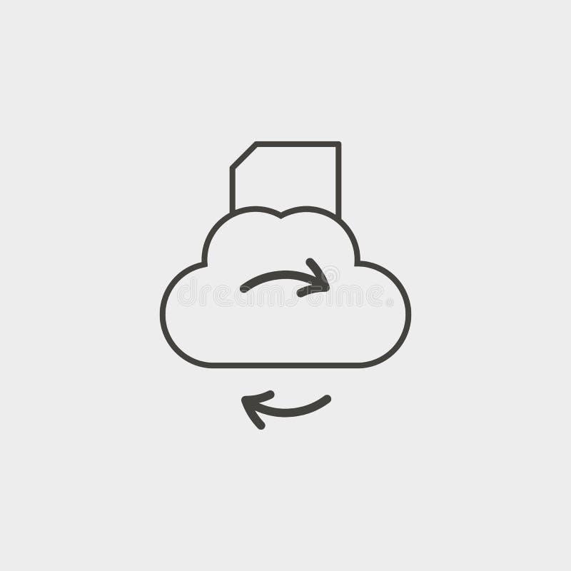 Nube, carpeta, sincronización, esquema, icono Icono del vector del desarrollo web Elemento del símbolo simple para las páginas we libre illustration