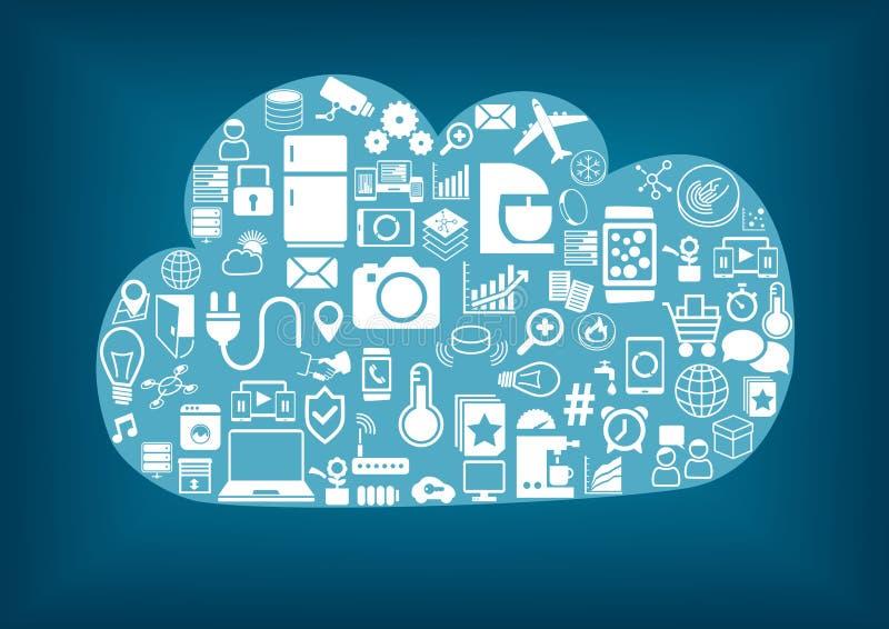 Nube casera elegante que computa stock de ilustración