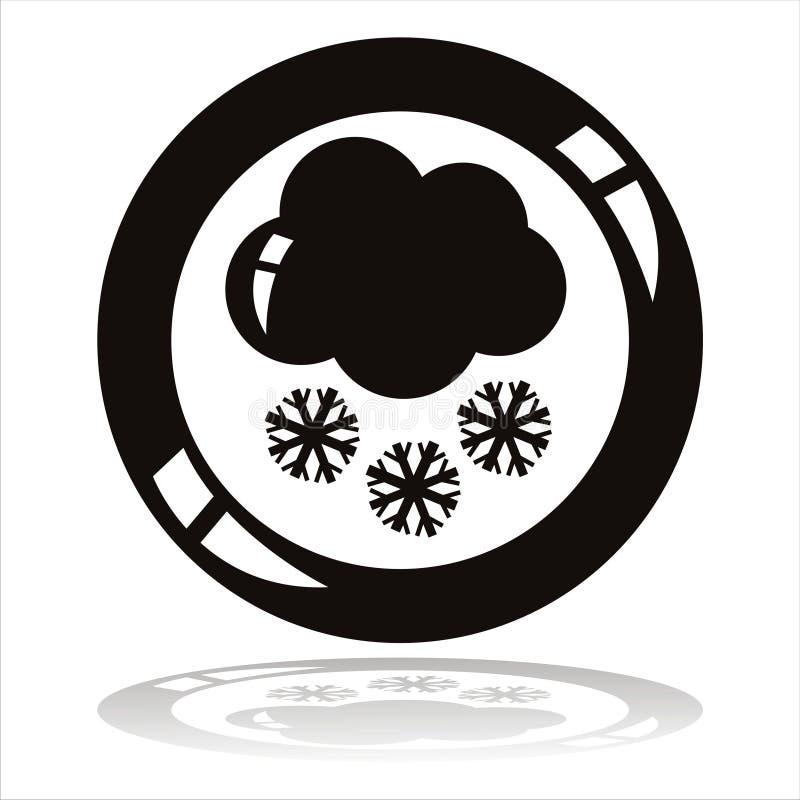 Nube con el botón de los copos de nieve stock de ilustración