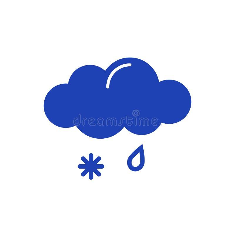 Nube con el icono de la lluvia y de la nieve ilustración del vector