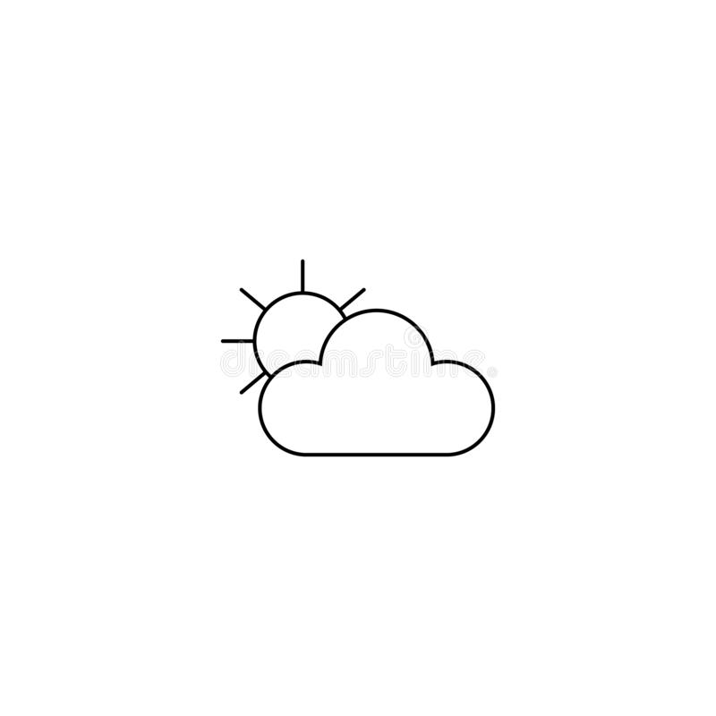 Nube con el icono del sol línea estilo Tiempo de Cloudly libre illustration