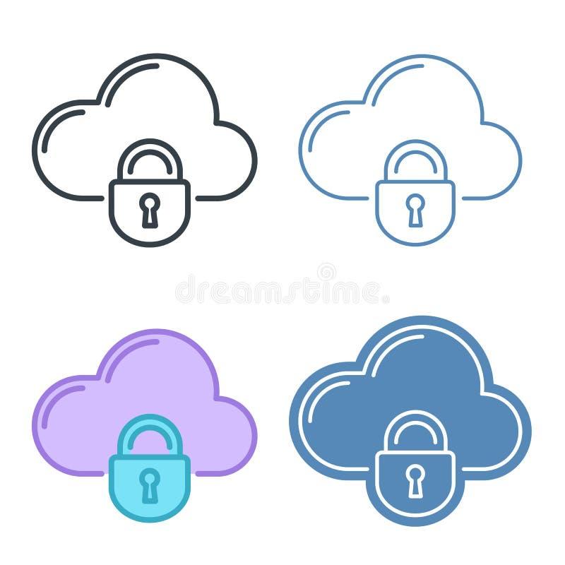Nube con el sistema del icono del esquema del vector de la cerradura libre illustration
