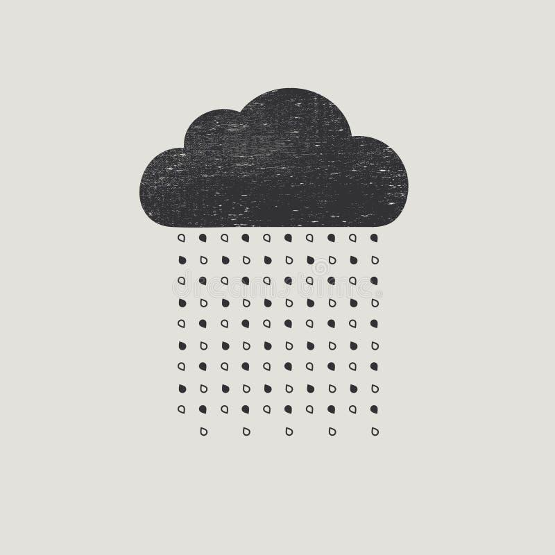 Nube con gotas de lluvia libre illustration