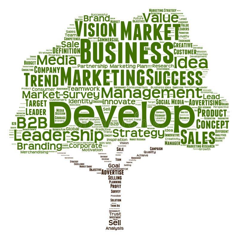 Nube conceptual de la palabra de la dirección del negocio stock de ilustración