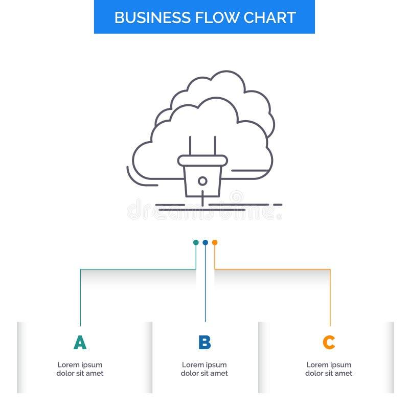 Nube, conexión, energía, red, diseño del organigrama del negocio del poder con 3 pasos L?nea icono para la plantilla del fondo de libre illustration