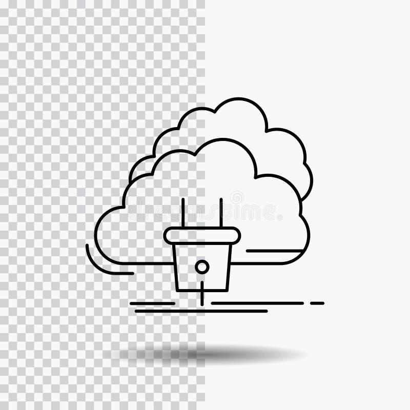 Nube, conexión, energía, red, icono de la línea eléctrica en fondo transparente Ejemplo negro del vector del icono ilustración del vector