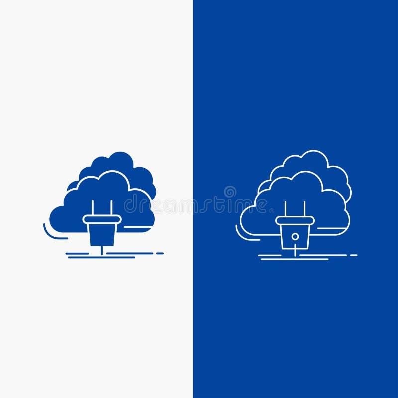 Nube, conexión, energía, red, línea eléctrica y botón de la web del Glyph en la bandera vertical del color azul para UI y UX, pág libre illustration