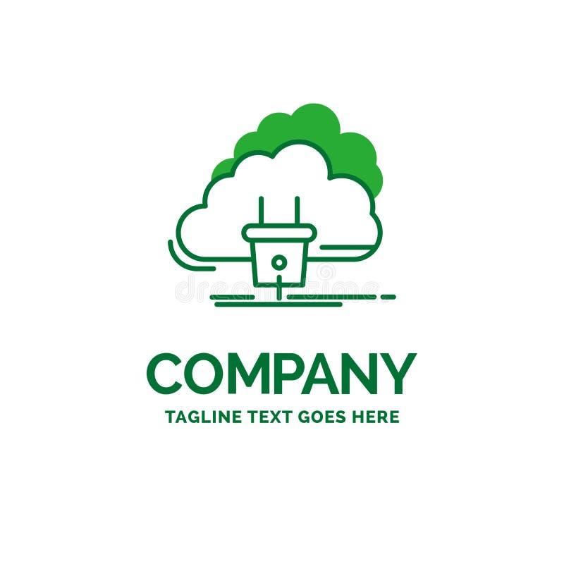 Nube, conexión, energía, red, tem plano del logotipo del negocio del poder ilustración del vector