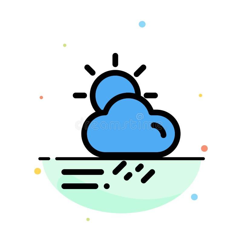 Nube, día, lluvioso, estación, plantilla plana del icono del color del extracto del tiempo ilustración del vector