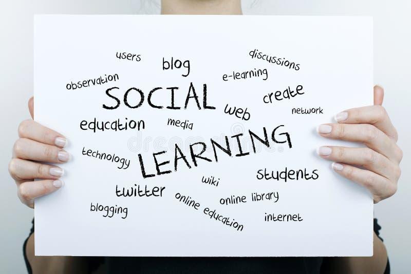 Nube de aprendizaje social de la palabra fotos de archivo libres de regalías