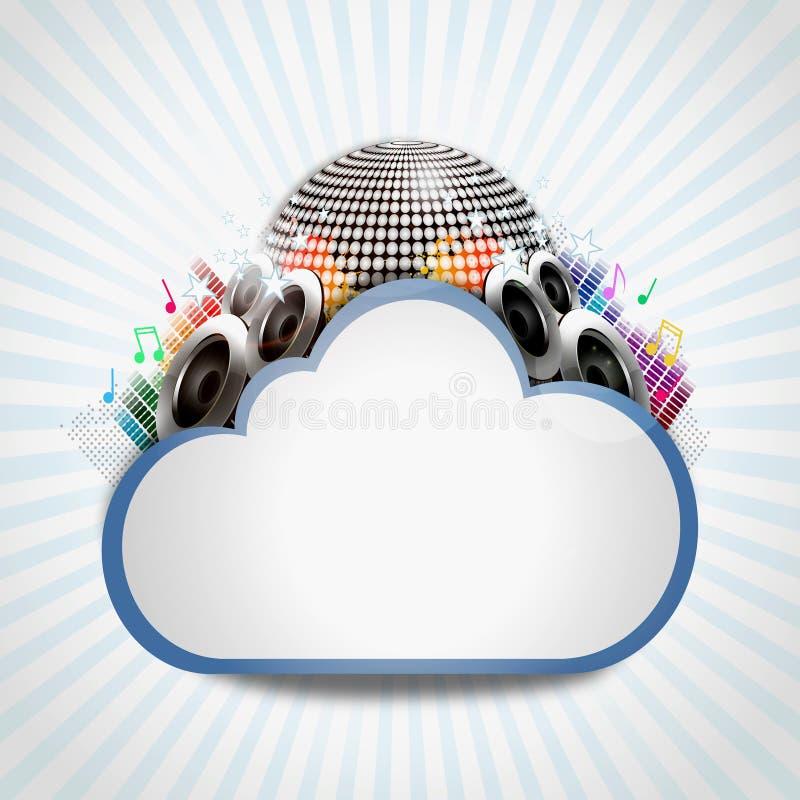 Nube de Internet con la distribución de la música ilustración del vector