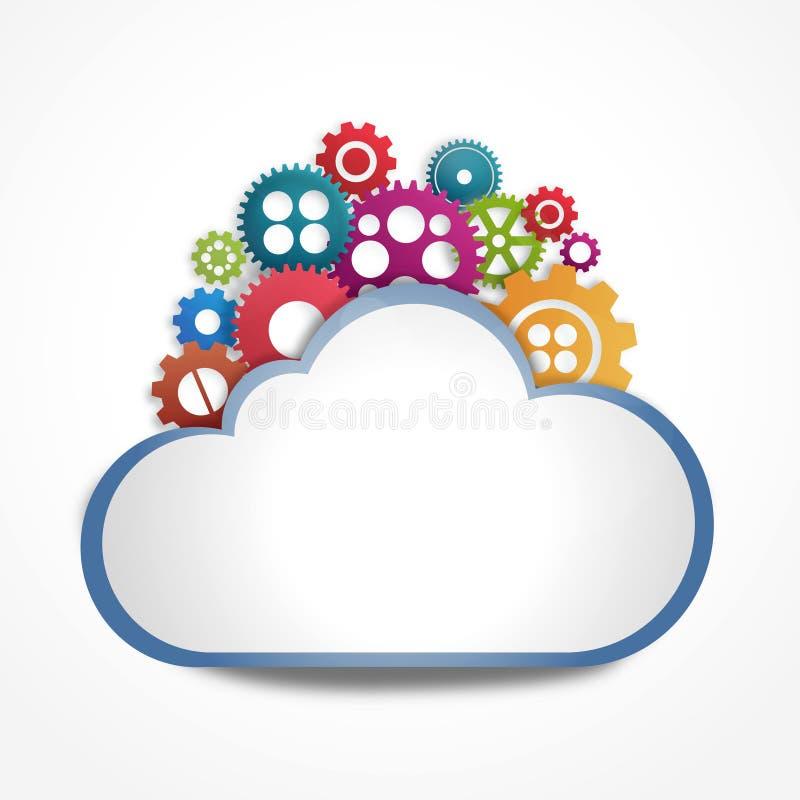 Nube de Internet con los engranajes libre illustration