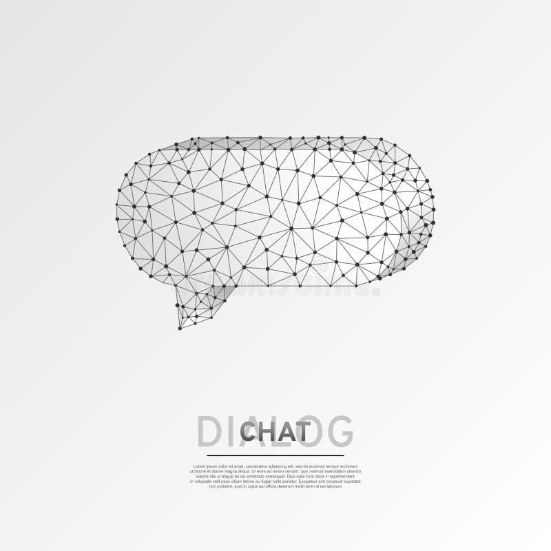 Nube de la charla del diálogo Vector polivinílico bajo de la papiroflexia del extracto de la comunicación de la gente de la tecno stock de ilustración