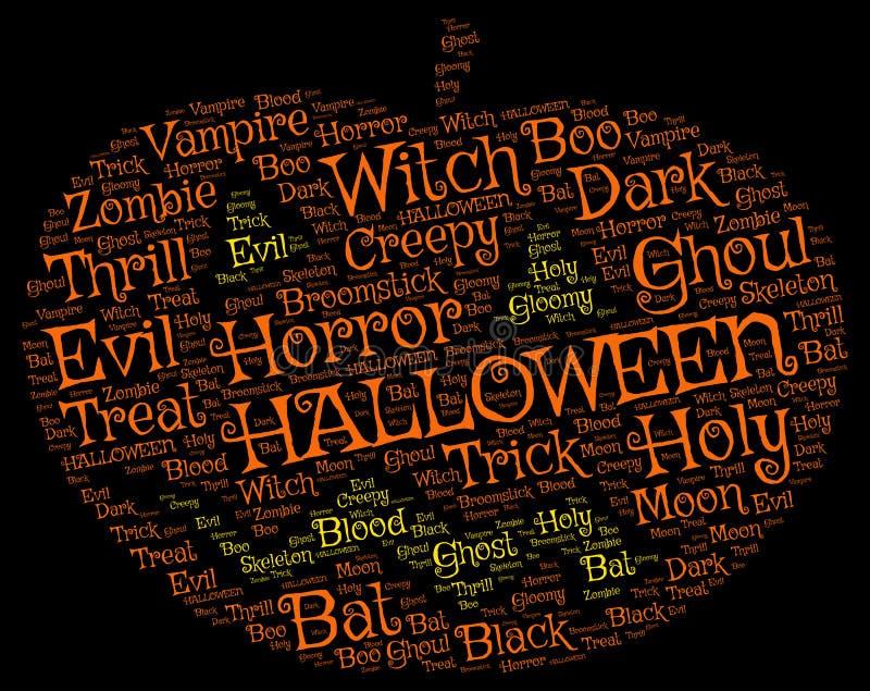 Nube de la etiqueta de la palabra de la calabaza de Halloween en un fondo negro imagen de archivo libre de regalías