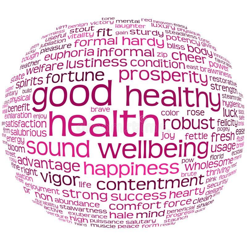 Nube de la etiqueta de la salud y del bienestar stock de ilustración