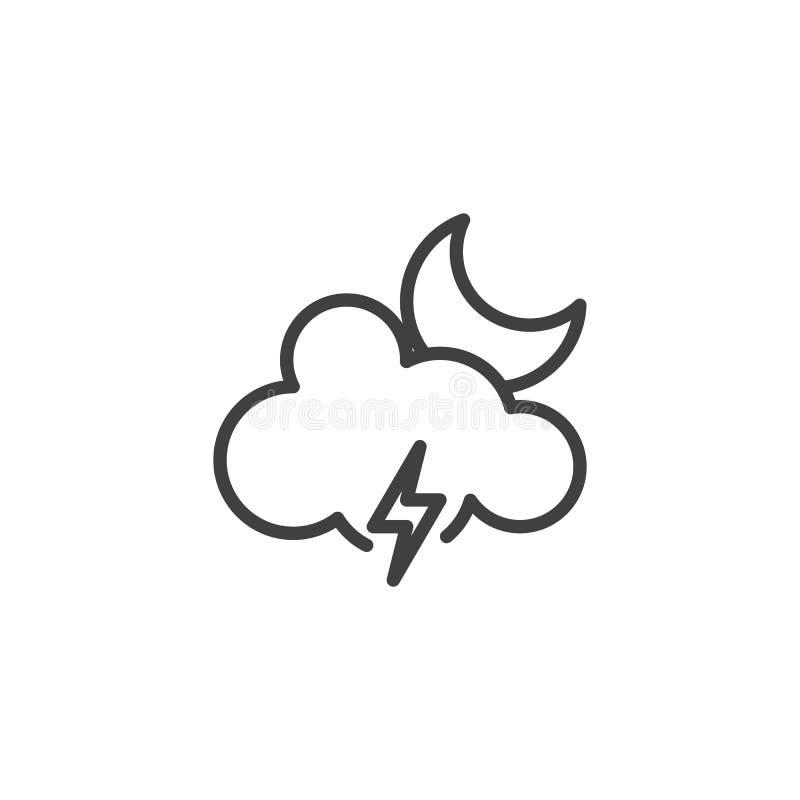 Nube de la luna con la iluminación del icono del vector ilustración del vector