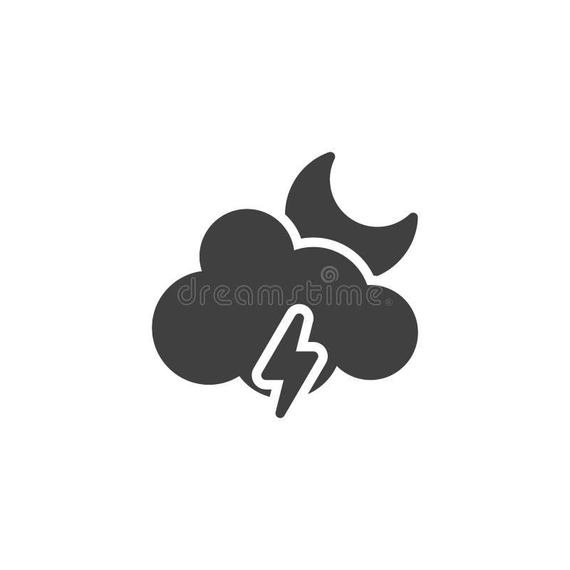 Nube de la luna con la iluminación del icono del vector stock de ilustración