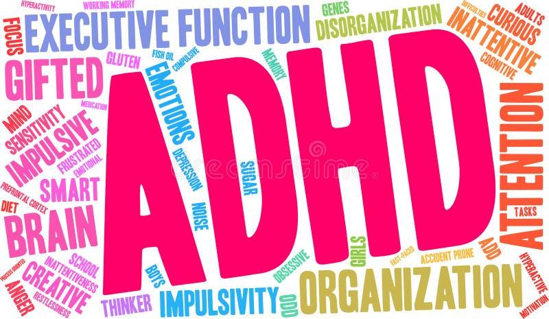 Nube de la palabra de ADHD libre illustration