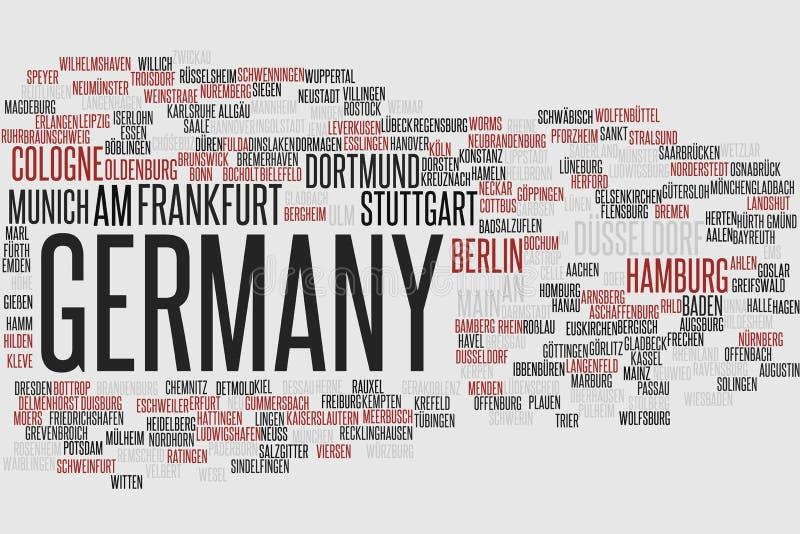 Nube de la palabra de Alemania ilustración del vector