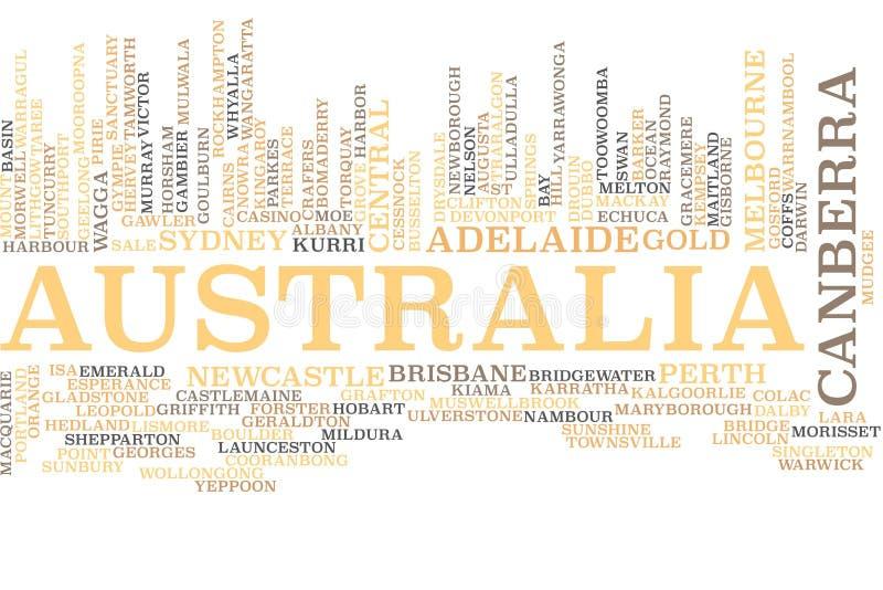 Nube de la palabra de Australia stock de ilustración
