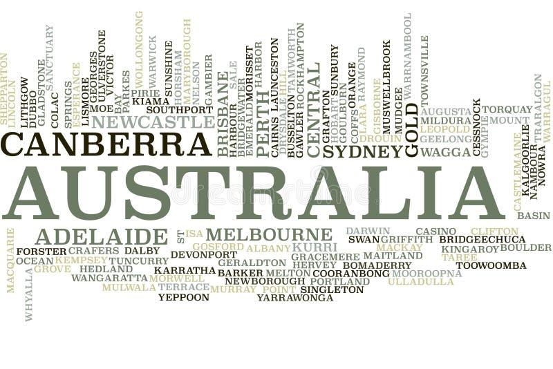 Nube de la palabra de Australia ilustración del vector
